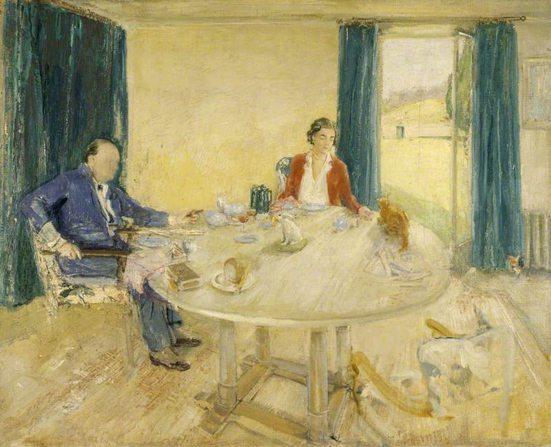Study for 'Breakfast at Chartwell II' (Sir Winston Churchill, 1874–1965, and Clementine Ogilvy Hozier, 1885–1977, Lady Churchill, in the Dining Room at Chartwell, with Their Cat 'Tango')
