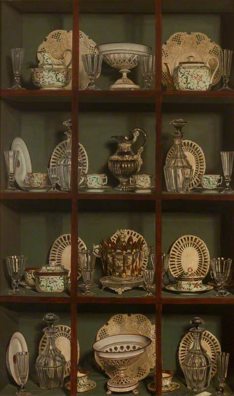 A Trompe l'oeil of China and Glass in a Cabinet
