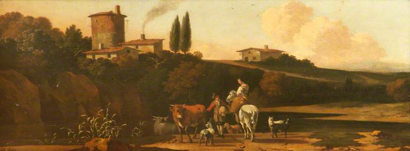 Landscape with a Woman on a Horse, Cattle and Dogs