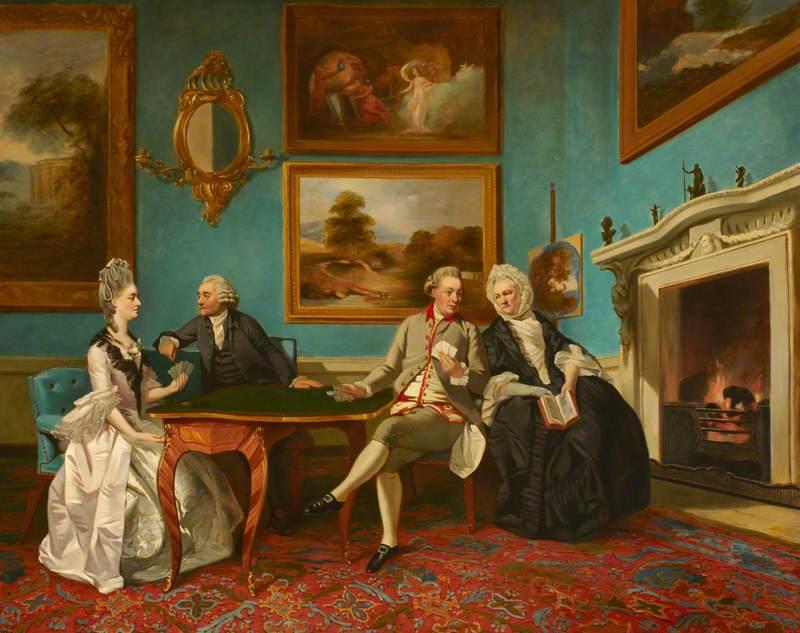 The Dutton Family at Cards (Jane Dutton, 1753–1800, Mrs Thomas William Coke; James Lenox Dutton, c.1713–1776; James Dutton, 1744–1820, 1st Baron Sherborne; and Jane Bond, c.1712–1776, Mrs James Lenox Dutton)