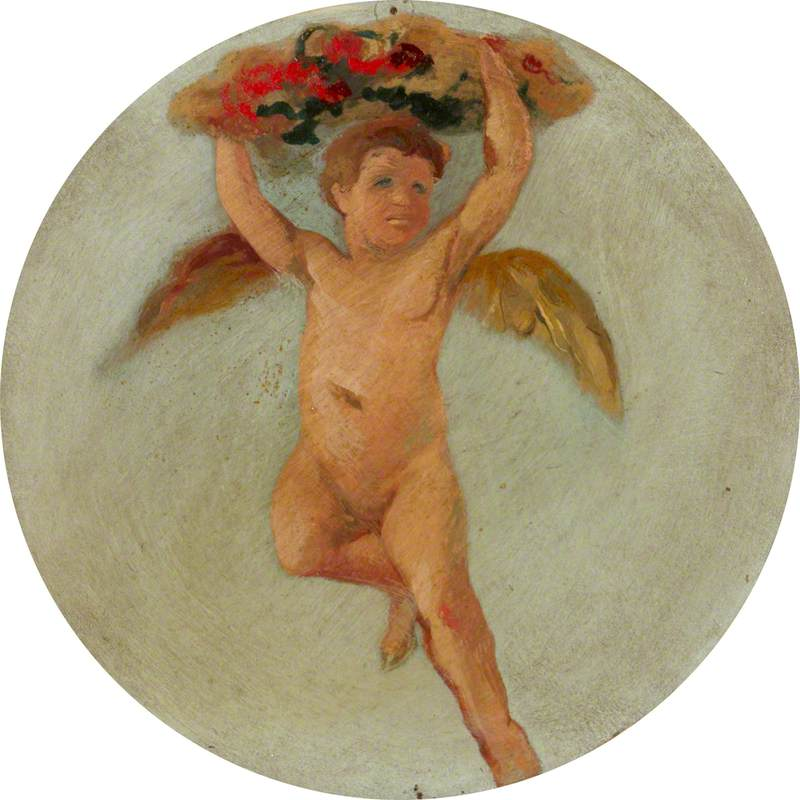 Ceiling Roundel: Putto Flying and Holding Up Flowers above His Head