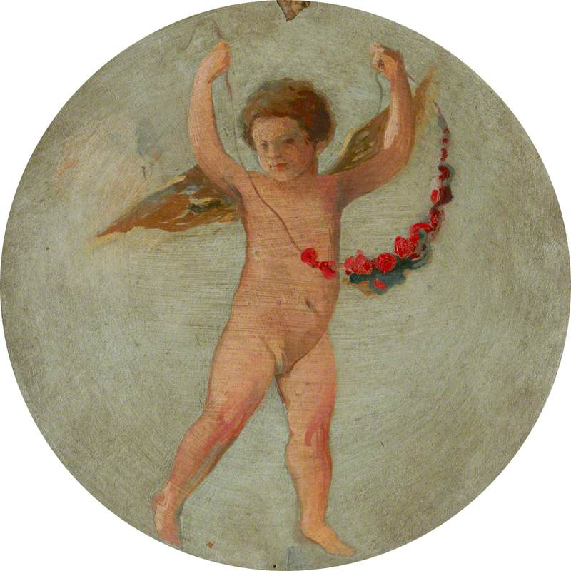 Ceiling Roundel: Putto Flying with a Garland of Flowers