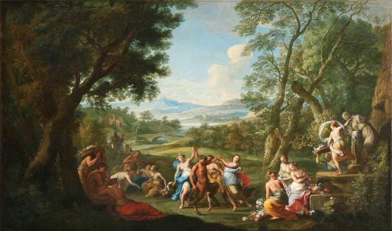 Nymphs and Satyrs Celebrating Flora and Priapus with Flowers