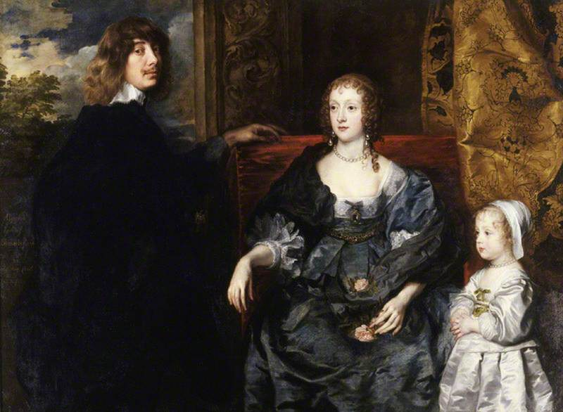 Sir Algernon Percy (1602–1668), 10th Earl of Northumberland, KG, His First Wife Lady Anne Cecil (d.1637), and Their Eldest Daughter, Lady Catherine Percy (1630–1638)