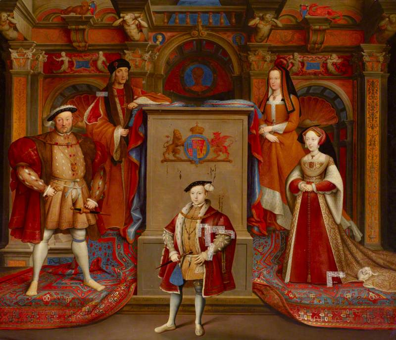 Henry VII (1457–1509), Queen Elizabeth (of York) (1466–1503), Henry VIII (1491–1547), Queen Jane Seymour (1509–1537), and Edward VI (1537–1553), as Prince of Wales