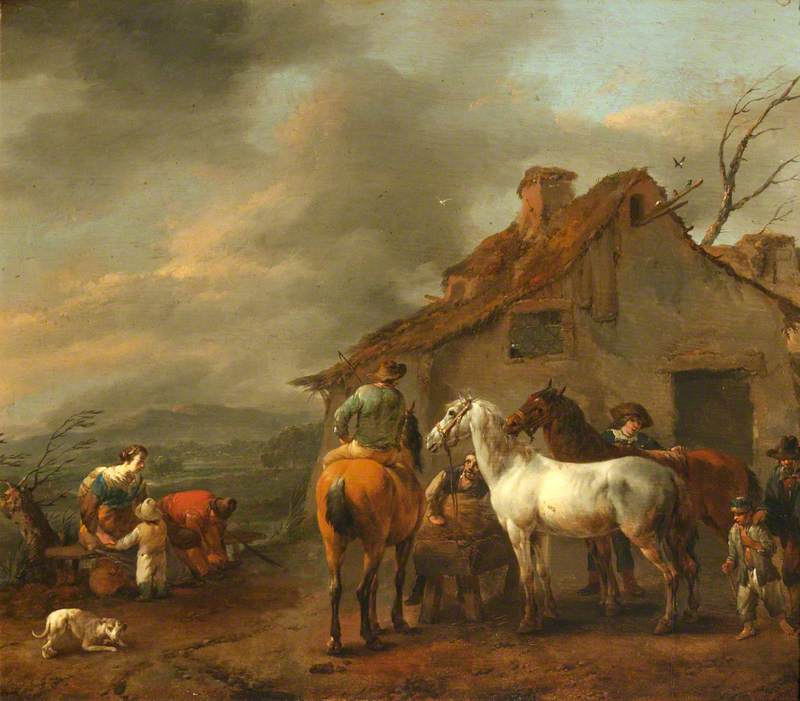 A Group of Figures and Horses with a Cottage in the Background