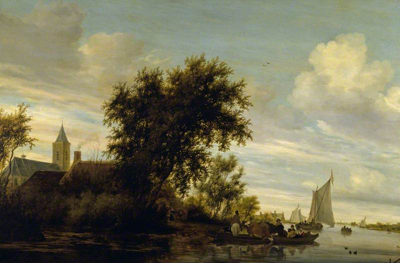 A River Scene with a Ferry Boat