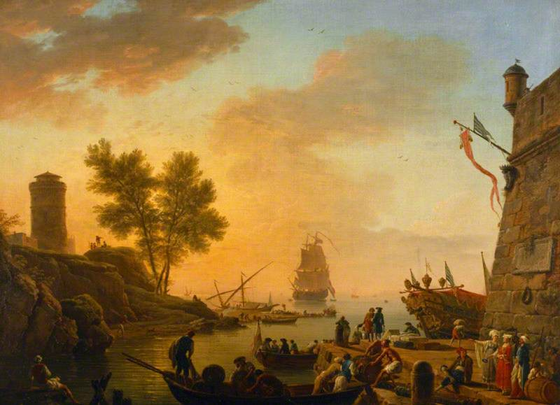Evening: Habour Scene with Boats Being Unloaded and Spectators