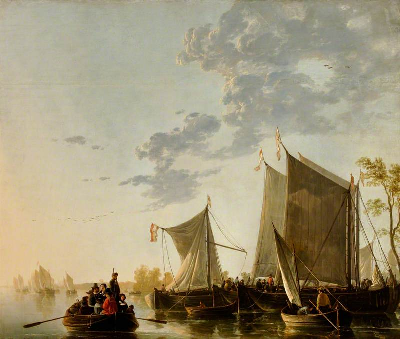 Shipping on the Maas with a Party in a Rowing Boat