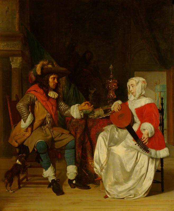 The Tête-à-Tête: A Lady Playing a Lute, and a Cavalier