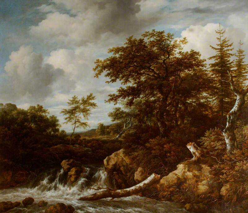 Wooded Landscape with a Waterfall