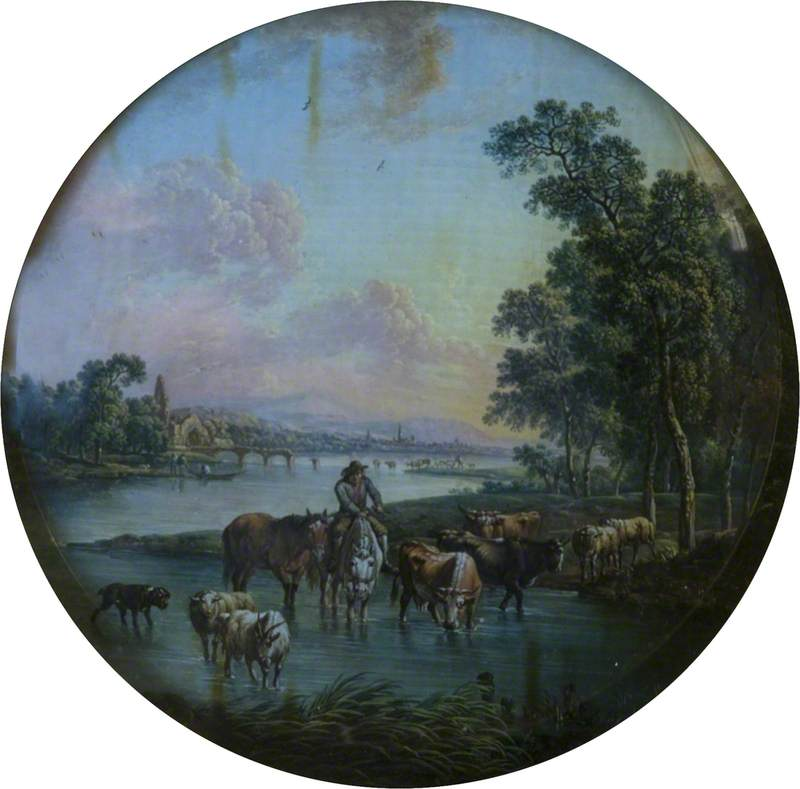 Landscape with Peasant and Animals Watering
