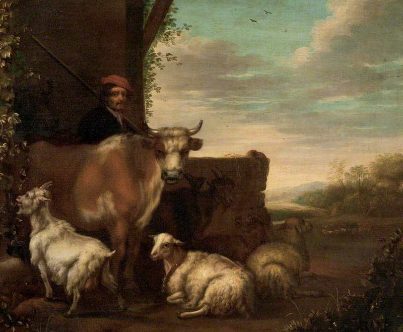 A Herdsman with Cattle, Sheep and Goats