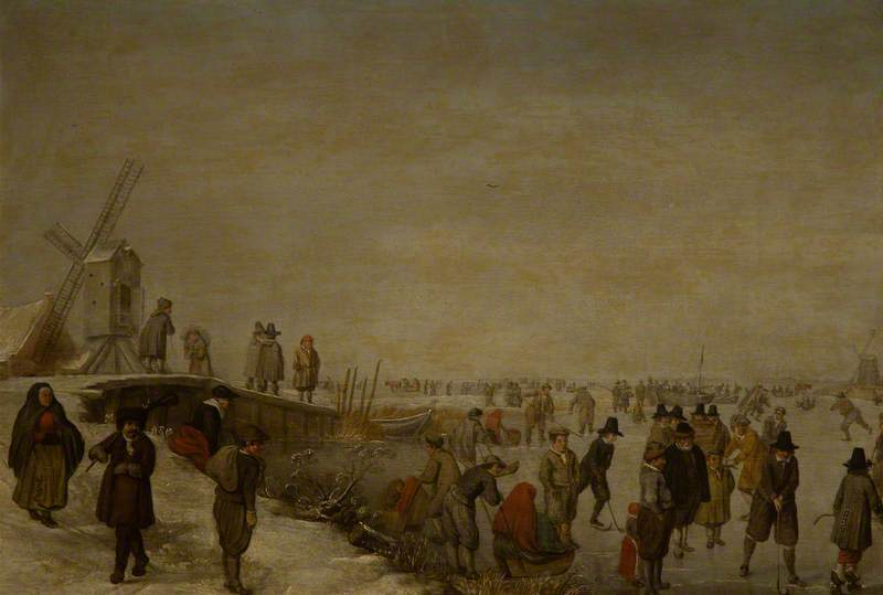 A Winter Landscape with Figures around a Bridge