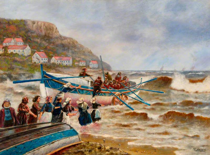 The Launch of the Runswick Bay Lifeboat, North Yorkshire, by the Women of the Village*