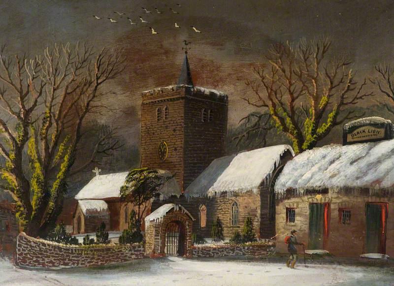 Llanbadarn Church and the 'Black Lion' in Winter