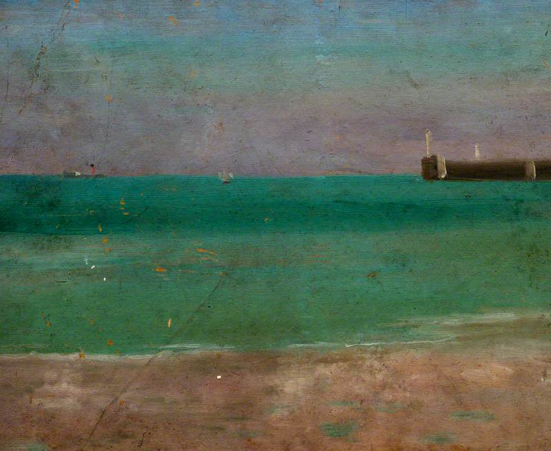 Seascape with a Ship and a Jetty