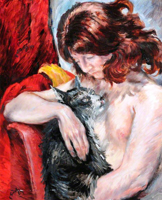 Woman with a Cat on a Red Chair