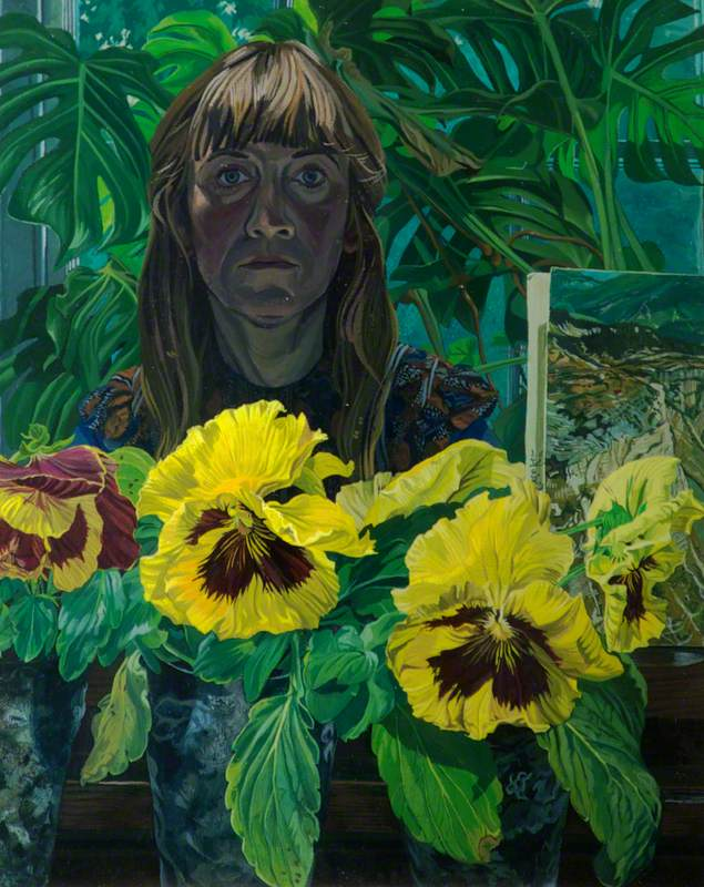 Self Portrait with Giant Pansies