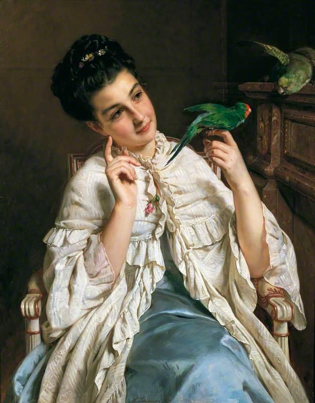Girl with Lovebirds