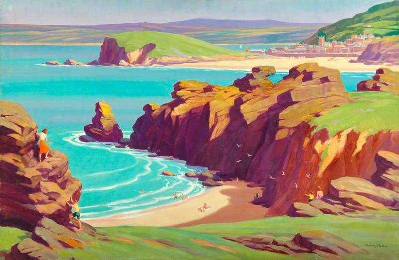 Coastal View with Village in Background, possibly Cornwall