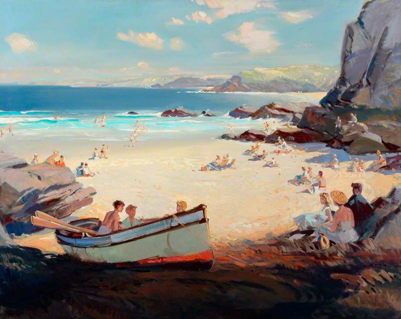 Seaside Scene with Rowing Boat in Foreground, possibly Cornwall