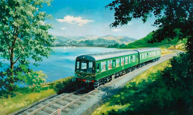 A Diesel Train on the Shore of Bassenthwaite Lake, near Keswick, Cumberland