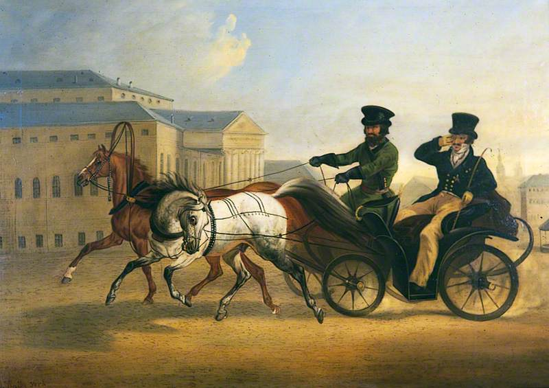 Major General Norcliffe of Dalton Hall Riding in a Russian Droshky