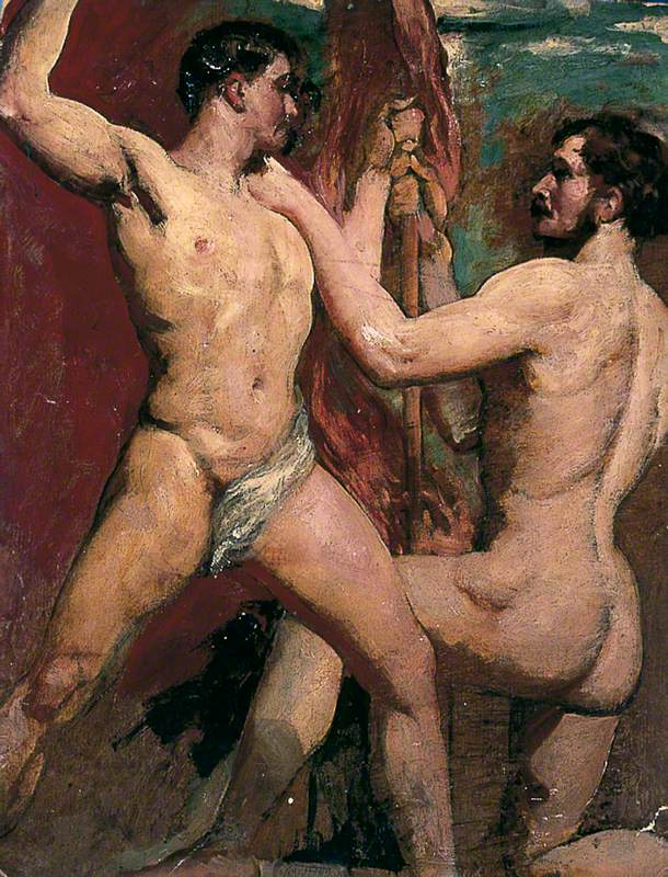 Two Male Nudes, One Kneeling with Staff