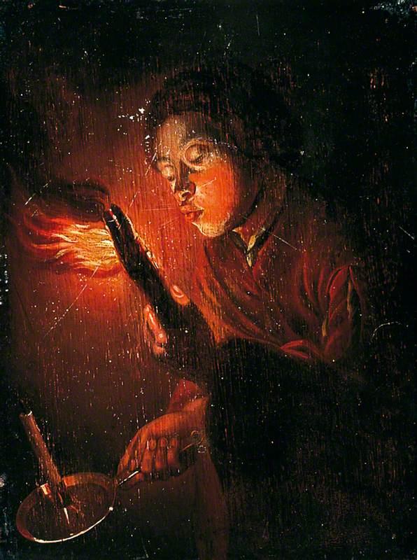Boy Blowing on a Firebrand