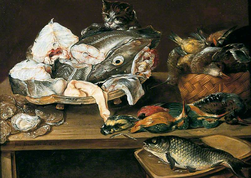 Still Life with Fish and a Cat