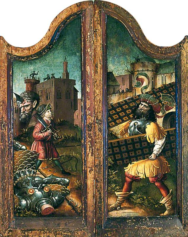 David Carrying Goliath's Head on His Sword (outer left wing of triptych), Samson Striding out of Gaza with the City Gates in His Hands (outer right wing of triptych)
