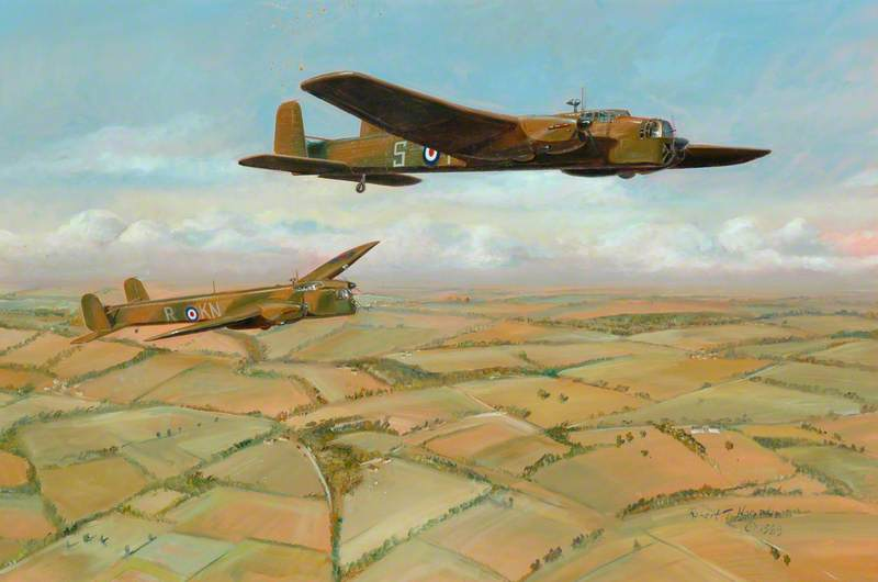 Two Whitley Bombers, Airborne