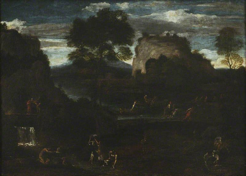River Landscape with Fishermen and Washerwomen
