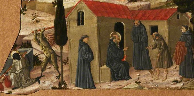 Scenes from the Lives of the Hermits: Abba Moses and the Indian Assaulted by the Devil, and a Sainted Hermit Receiving a Beggar