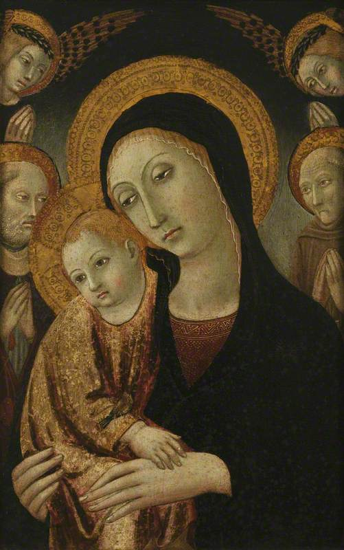 The Virgin and Child with Saints Jerome and Bernardin of Siena, and Two Angels Above