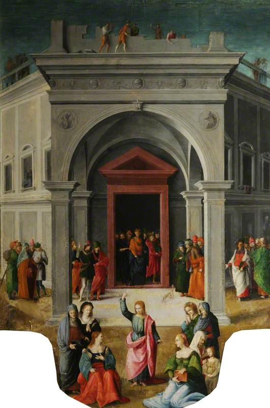 Christ Preaching before a Temple (Raising of Lazarus?)