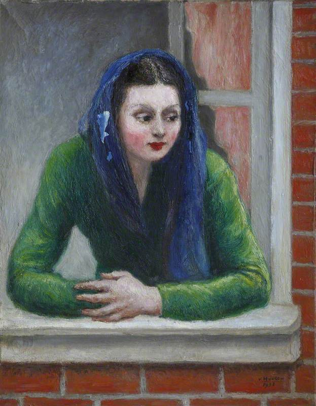 Lady in Green Looking through a Window