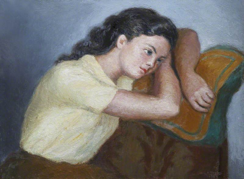 Girl Leaning on a Cushion