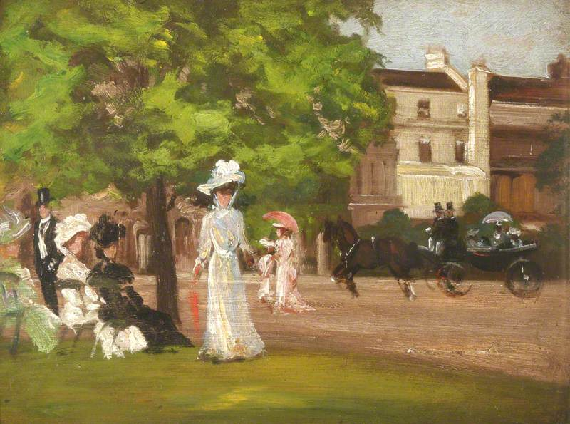 Street Scene with an Elegant Woman and a Horse-Drawn Carriage