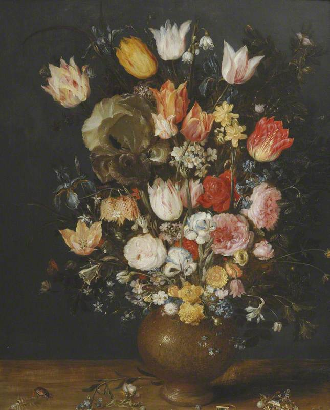 Flowers in a Stoneware Vase