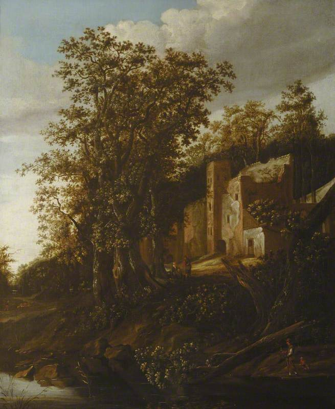 Peasants by a Wooded Riverbank