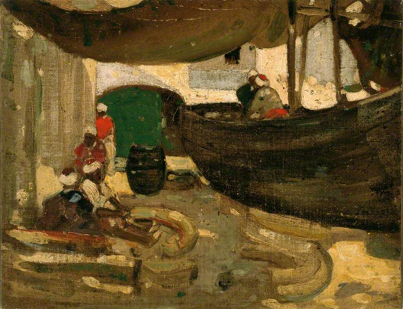 Arab Fishermen and Boats