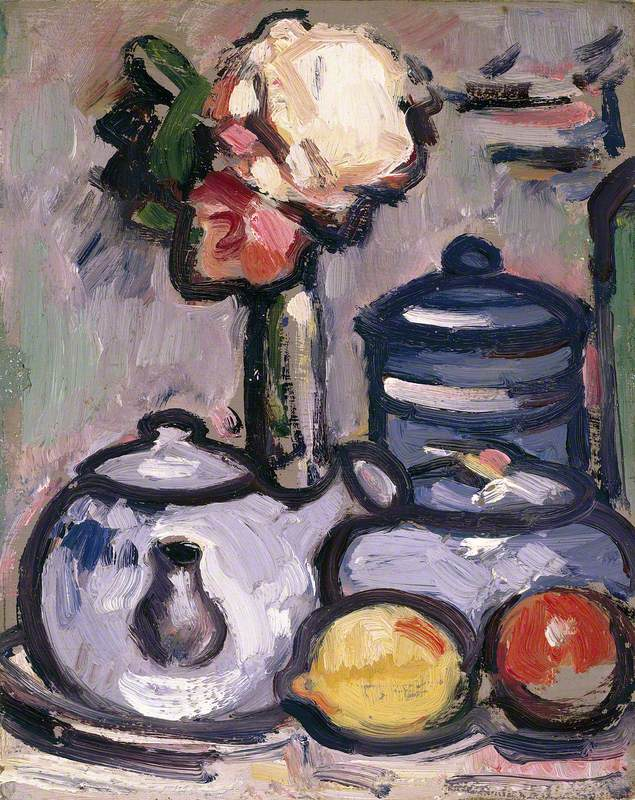 Still Life: Teapot with Flowers and Fruit