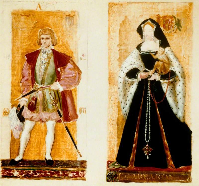 Preparatory Sketches of Prince Arthur and Katherine of Aragon