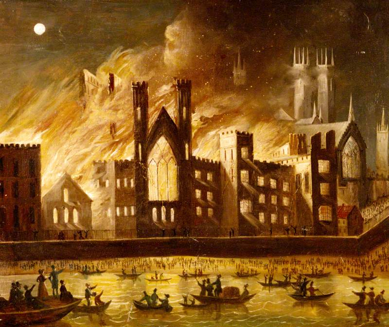 Palace of Westminster on Fire, 1834