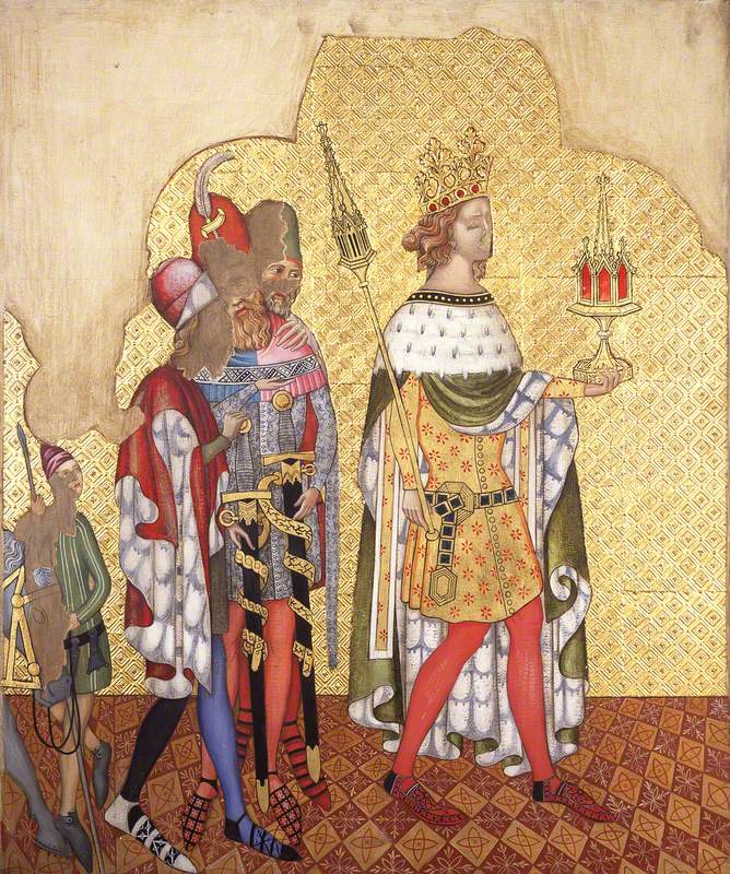 Reconstruction of Medieval Mural Painting, King with a Septre Casket and Attendants