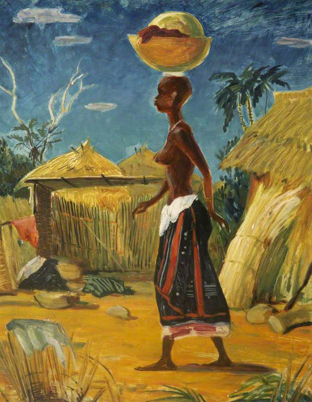 West African Woman Carrying a Bowl