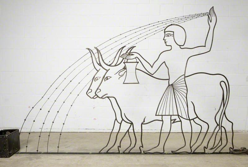 Egyptian Agriculture: Two Oxen and an Egyptian Man Holding a Bucket and Broadcasting Seeds