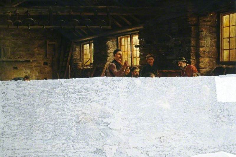 Men Seated around a Fire in a Grinding Shop